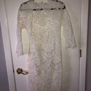 white lacey midi dress